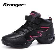 Orangre WANITA HITAM Modern Jazz Tari Sepatu Kulit Bernapas Lembut Wanita Jazz Sneaker Dance Sneakers untuk