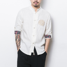 Beli Oriental Style Gaya Cina Laki Laki Lengan Pendek Musim Panas Sepatu Linen Kemeja Kostum Dinasti Tang Atasan Putih Nyicil