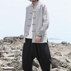Oriental Gaya Kain Linen Kostum Kostum Rajut Gelang Rajutan Pakaian Atasan Jas Kungfu Kemeja (Abu-abu)