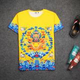 Jual Oriental Style Kaisar Jubah Kaisar Dicetak Lengan Pendek T Shirt Seragam Resmi Kuning Jubah Pendek Murah Tiongkok