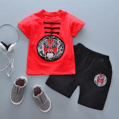 Oriental Style Retro Anak-anak Lengan Pendek Celana Pendek T-shirt (Topeng China Merah)