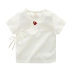 Oriental Gaya Retro Anak Laki-laki Pakaian Adat Tiongkok Musim Panas Kain Linen Atasan Lengan Pendek Kemeja (Putih)