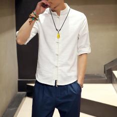 Jual Beli Online Oriental Style Retro Lengan Gelang Rajutan Kostum Dinasti Tang Linen Sepatu Linen Kemeja Putih Baju Atasan Kaos Pria Kemeja Pria