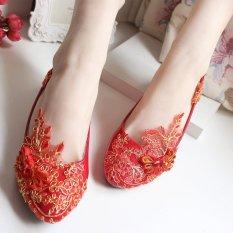 Beli Oriental Style Retro Serabut Emas Renda Merah Sepatu Mempelai Wanita Sepatu Pernikahan 4 5 Cm Terlalu Besar Dan Setengah Yard Other Dengan Harga Terjangkau