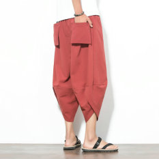 Oriental Gaya Sepatu Linen Pria Yard Besar Lebar Kesemek Celana Longgar Kulot (Merah)