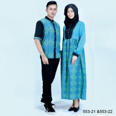 Original Azzurra  Jual Dress Muslimah Couple Wanita 553-22  Warna : Hijau Tosca  Terbuat dari Bahan : Katun