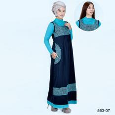 Original Azzurra  Jual Gamis Muslimah Casual Wanita 563-07  Warna : Navy  Terbuat dari Bahan : Katun