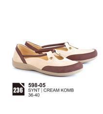 Original Azzurra  Jual Sandal Casual Wanita 598-05  Warna : Cream Komb  Terbuat dari Bahan : Synt