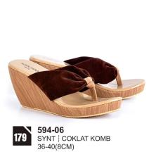 Original Azzurra  Jual Sepatu Casual Wedges Wanita 594-06  Warna : Coklat Komb  Terbuat dari Bahan : synt