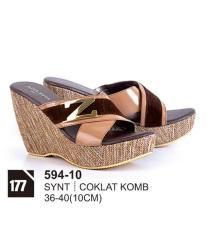 Original Azzurra  Jual Sepatu Casual Wedges Wanita 594-10  Warna : Coklat Komb  Terbuat dari Bahan : Synt