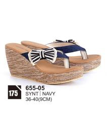Original Azzurra  Jual Sepatu Casual Wedges Wanita 655-05  Warna : Navy  Terbuat dari Bahan : Synt