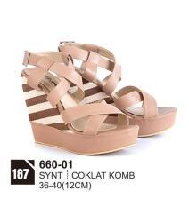Original Azzurra  Jual Sepatu Casual Wedges Wanita 660-01  Warna : Coklat Comb  Terbuat dari Bahan : Synt