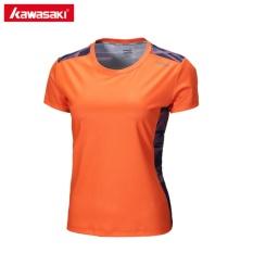 Asli Kawasaki Tenis Kaos Badminton Kebugaran Kompresi Pakaian Lengan Pendek O Leher Olahraga T Shirt St-172025 (Orange)-Intl