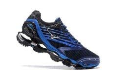 Asli MIZUNO Men s Wave Nubuat 5 Menjalankan Sepatu Biru Hitam Mizuno 5  Fashion Kets Classic 1681bb8b83