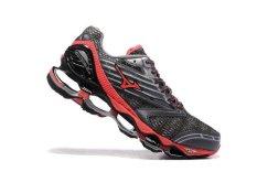 Original Mizuno Gelombang Wanita Nubuat 5 Menjalankan Mizuno 5 Shoe Grey/Red Fashion Kets Classic Olahraga dan Berjalan Bernapas Sepatu Kasual Pria-Intl