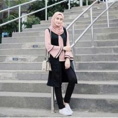 Original Raya Tunik (Iner Plus Cardi Menyatu) Wolfis Baju Atasan Wanita Muslim Panjang Pakaian Kerja Santai Casual