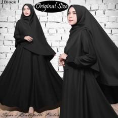 Original Size Gamis Muslim Syari Balotelli Polos HQ Black + Set Kerudung Sesuai Foto