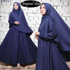 Original Size Gamis Muslim Syari Balotelli Polos HQ Navy + Set Kerudung Sesuai Foto