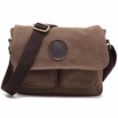 Situs Review Orlando Men Canvas Messenger Crossbody Bag Coffee Brown Coklat