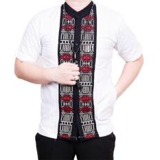 Ormano Baju Koko Muslim Batik Bordir Lengan Pendek Lebaran Hari Raya Pengajian ZO17 KK8 Kemeja Fashion Pria Corak Masa Kini Modern Size L - Putih