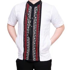 Ormano Baju Koko Muslim Batik Bordir Lengan Pendek Lebaran Hari Raya Pengajian ZO17 KK83 Kemeja Fashion Pria Corak Masa Kini Modern Size L - Putih