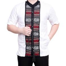 Ormano Baju Koko Muslim Batik Bordir Lengan Pendek Lebaran Hari Raya Pengajian ZO17 KK85 Kemeja Fashion Pria Corak Masa Kini Modern Size L - Putih