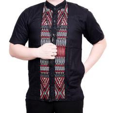Ormano Baju Koko Muslim Batik Bordir Lengan Pendek Lebaran Hari Raya Pengajian ZO17 KK86 Kemeja Fashion Pria Corak Masa Kini Modern Size L - Hitam