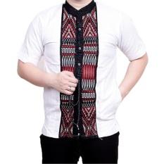 Ormano Baju Koko Muslim Batik Bordir Lengan Pendek Lebaran Hari Raya Pengajian ZO17 KK86 Kemeja Fashion Pria Corak Masa Kini Modern Size L - Putih