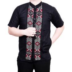 Ormano Baju Koko Muslim Batik Bordir Lengan Pendek Lebaran Hari Raya Pengajian ZO17 KK87 Kemeja Fashion Pria Corak Masa Kini Modern Size L - Hitam