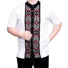 Ormano Baju Koko Muslim Batik Bordir Lengan Pendek Lebaran Hari Raya Pengajian ZO17 KK87 Kemeja Fashion Pria Corak Masa Kini Modern Size L - Putih