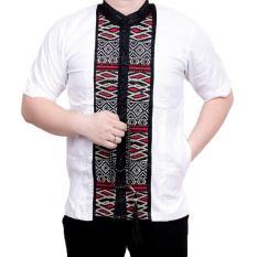 Ormano Baju Koko Muslim Batik Bordir Lengan Pendek Lebaran Hari Raya Pengajian ZO17 KK90 Kemeja Fashion Pria Corak Masa Kini Modern Size L - Putih