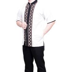 Ormano Baju Koko Muslim Batik Bordir Lengan Pendek Lebaran Hari Raya Pengajian ZO17 KK96 Kemeja Fashion Pria Corak Masa Kini Modern Size L - Putih