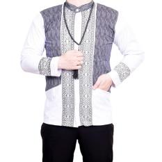 Ormano Baju Koko Muslim Batik Lengan Panjang Lebaran Hari Raya Pengajian ZO17 KK104 Kemeja Fashion Pria Corak Masa Kini Modern Size L - Putih