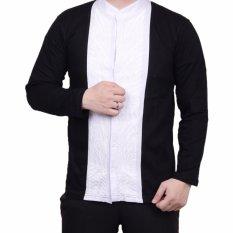 Ormano Baju Koko Muslim Batik Lengan Panjang Lebaran ZO17 KK55 Kemeja Fashion Pria - Hitam