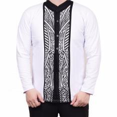 Ormano Baju Koko Muslim Batik Lengan Panjang Lebaran ZO17 KK55 Kemeja Fashion Pria - Putih