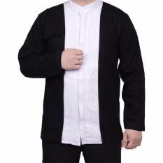 Ormano Baju Koko Muslim Batik Lengan Panjang Lebaran ZO17 KK56 Kemeja Fashion Pria - Hitam