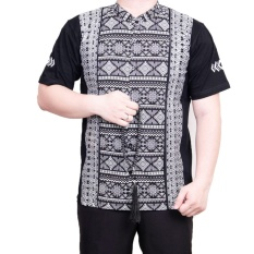 Ormano Baju Koko Muslim Batik Lengan Pendek Lebaran Hari Raya Pengajian ZO17 KK100 Kemeja Fashion Pria Corak Masa Kini Modern Size L - HItam