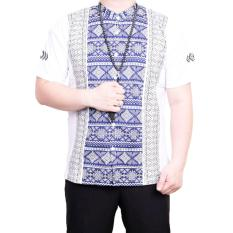 Ormano Baju Koko Muslim Batik Lengan Pendek Lebaran Hari Raya Pengajian ZO17 KK100 Kemeja Fashion Pria Corak Masa Kini Modern Size L - Putih