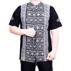 Ormano Baju Koko Muslim Batik Lengan Pendek Lebaran Hari Raya Pengajian ZO17 KK101 Kemeja Fashion Pria Corak Masa Kini Modern Size L - HItam
