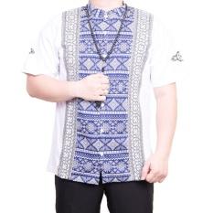 Ormano Baju Koko Muslim Batik Lengan Pendek Lebaran Hari Raya Pengajian ZO17 KK101 Kemeja Fashion Pria Corak Masa Kini Modern Size L - Putih