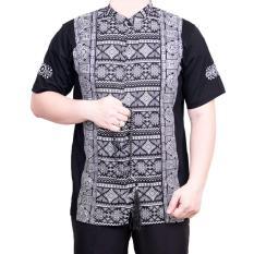 Jual Ormano Baju Koko Muslim Batik Lengan Pendek Lebaran Hari Raya Pengajian Zo17 Kk103 Kemeja Fashion Pria Corak Masa Kini Modern Size Xl Hitam Branded Murah