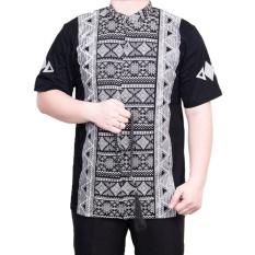 Obral Ormano Baju Koko Muslim Batik Lengan Pendek Lebaran Hari Raya Pengajian Zo17 Kk102 Kemeja Fashion Pria Corak Masa Kini Modern Size Xl Hitam Murah
