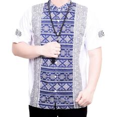 Ormano Baju Koko Muslim Batik Lengan Pendek Lebaran Hari Raya Pengajian ZO17 KK103 Kemeja Fashion Pria Corak Masa Kini Modern Size XL - Putih