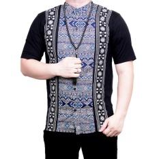 Ormano Baju Koko Muslim Batik Lengan Pendek Lebaran Hari Raya Pengajian ZO17 KK94 Kemeja Fashion Pria Corak Masa Kini Modern Size L - Hitam