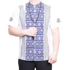 Ormano Baju Koko Muslim Batik Lengan Pendek Lebaran Hari Raya Pengajian ZO17 KK98 Kemeja Fashion Pria Corak Masa Kini Modern Size L - Putih