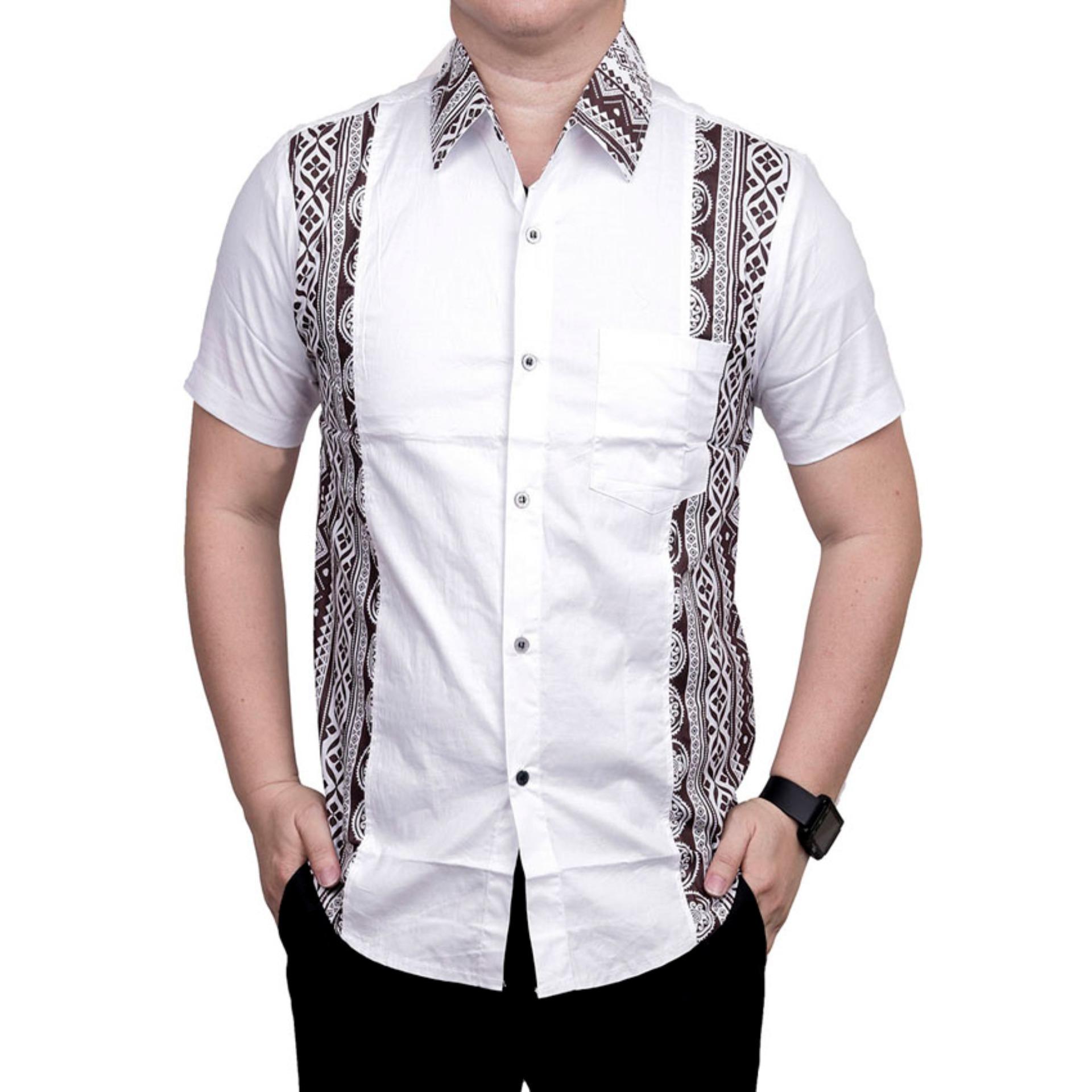 Harga Terjangkau Ormano Baju Koko Muslim Batik Lengan Pendek Lebaran ZO17 23SR Kemeja Fashion Pria Modern