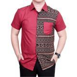 Tips Beli Ormano Baju Koko Muslim Batik Lengan Pendek Lebaran Zo17 49Sr Kemeja Fashion Pria Modern All Size Merah Yang Bagus