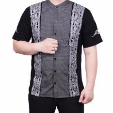 Ormano Baju Koko Muslim Batik Lengan Pendek Lebaran ZO17 KK51 Kemeja Fashion Pria - Hitam