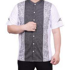 Ormano Baju Koko Muslim Batik Lengan Pendek Lebaran ZO17 KK51 Kemeja Fashion Pria - Putih