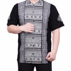 Ormano Baju Koko Muslim Batik Lengan Pendek Lebaran ZO17 KK54 Kemeja Fashion Pria - Hitam